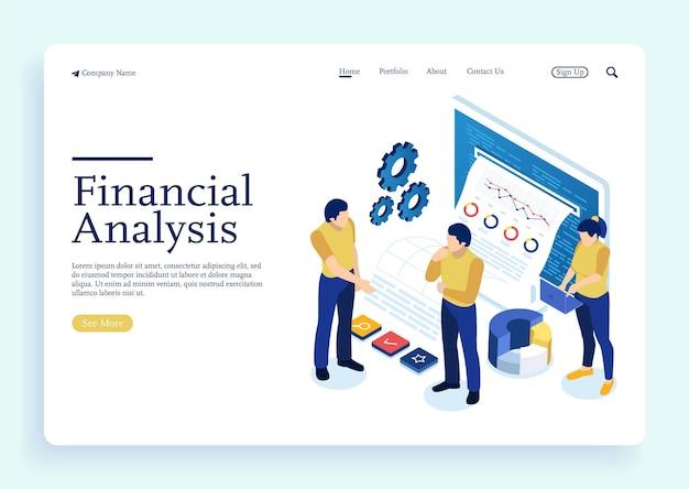 データ分析ビジネス統計管理コンサルティングおよびマーケティングのためのアイソメトリックエキスパートチーム