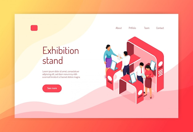 Isometric expo concept banner website page design with s of exhibit racks people and clickable links