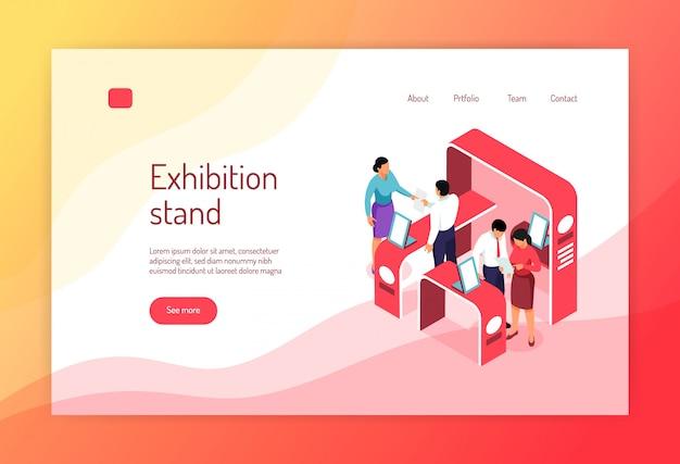 等尺性博覧会コンセプトバナーウェブサイトページデザインの展示ラックの人々とクリック可能なリンク