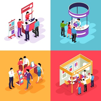 Isometric expo design concept with s of exhibit stands and people characters looking into exhibition booths