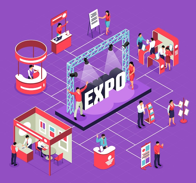 Isometric expo flowchart composition with isolated s of exhibit booths stands people and stage for performance