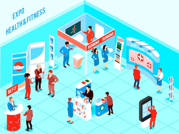 Isometric expo illustration