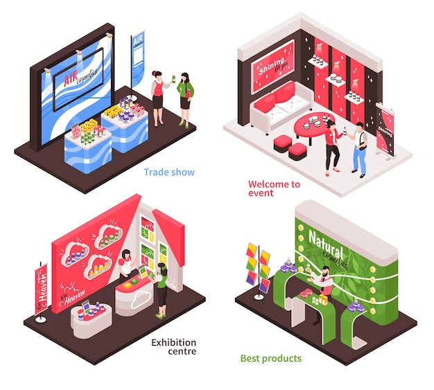 Isometric expo stand design concept of exhibition booth design illustration