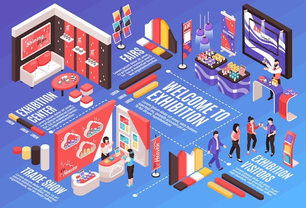Isometric expo stand horizontal composition with infographic elements text captions dashed lines and exhibition booth design  illustration