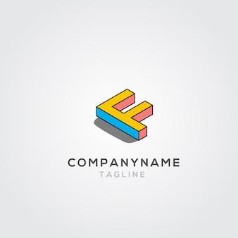 Isometric f logo design