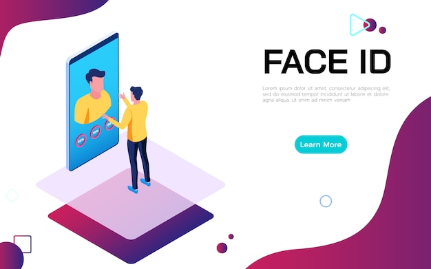 Isometric face identification digital security technologie concept.