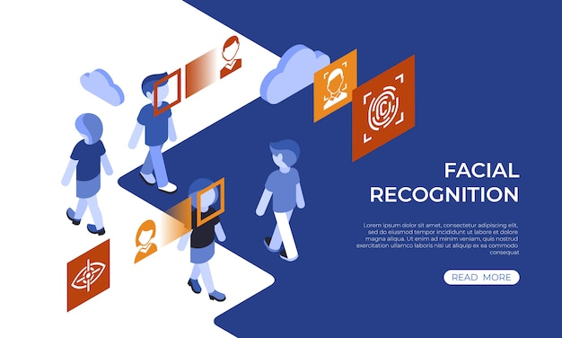 Isometric facial recognition technology infographics