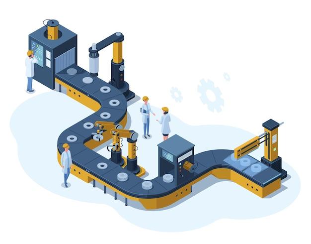 아이소메트릭 공장 자동화 기계화된 컨베이어 라인. 산업 자동화 로봇 컨베이어, 생산 3d 라인 벡터 일러스트 레이 션. 전자 공장 조립 라인