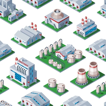 Isometric factory building seamless pattern background industrial element warehouse architecture house  illustration