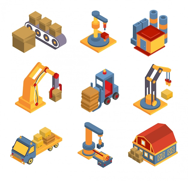 Isometric factory flowchart with robotic machinery symbols
