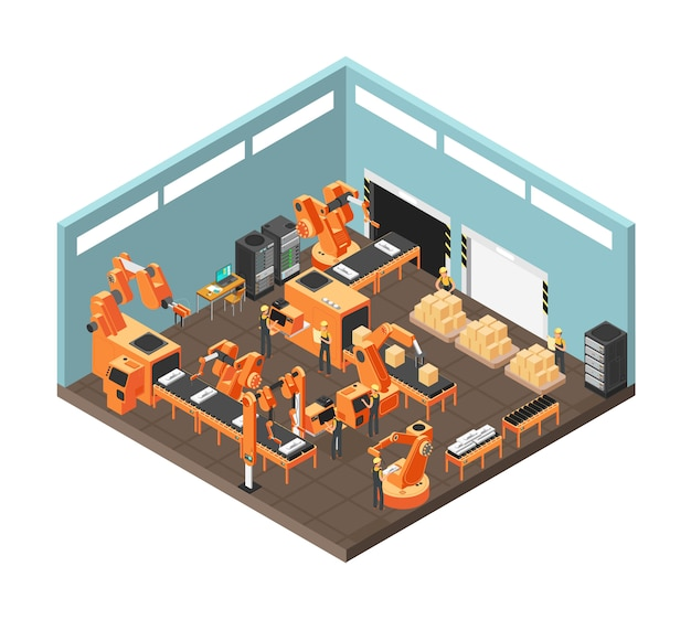 Isometric factory workshop with conveyor line, workers, electronics and controling computre servers. vector illustration