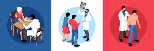 医療専門家のイラストとさまざまな年齢の患者の人間のキャラクターと等尺性家族医師のデザインコンセプト