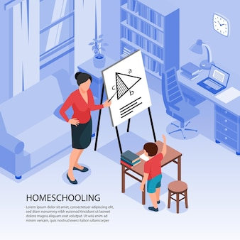 Isometric family homeschooling illustration