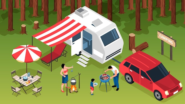 Isometric family trip horizontal composition with outdoor forest scenery camper van and family members making barbecue illustration