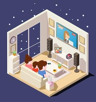 Изометрическая семья смотрит новости в гостиной в зимний сезон