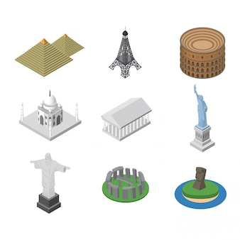 Isometric famous sightseeing places