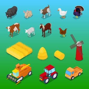 Isometric farm animals and agricultural transportation. vector 3d flat illustration