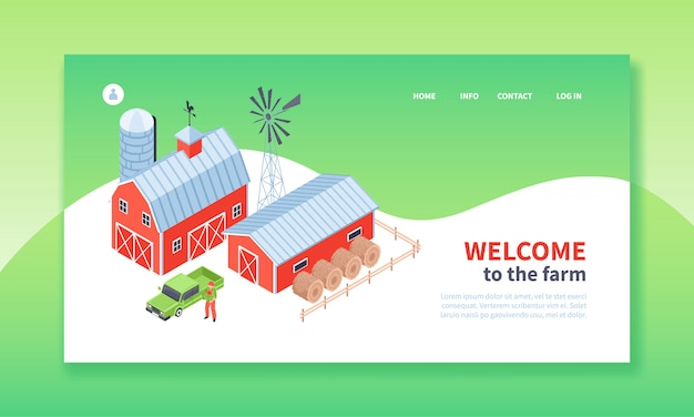 Isometric farm landing page