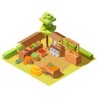 Isometric farm local grocery market