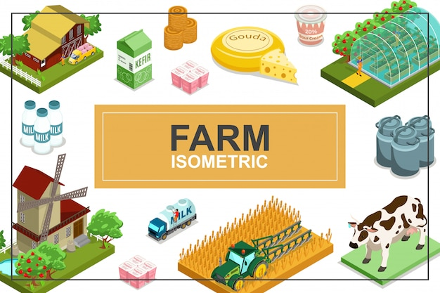 Isometric farming colorful composition with house windmill tractor greenhouse animals truck bales of hay dairy products