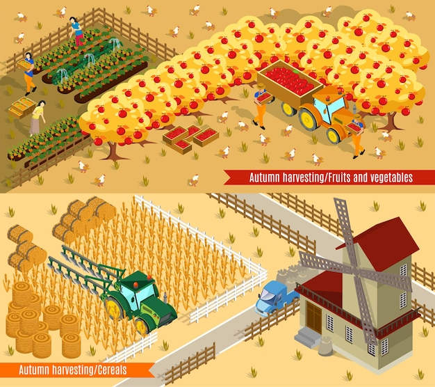 Isometric farming horizontal banners