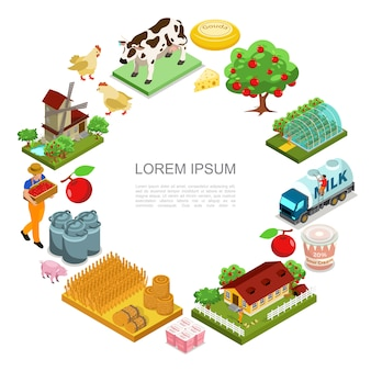 Isometric farming round composition with farmer cow pig chickens apple trees greenhouse milk truck cheese yogurt bales of hay house windmill