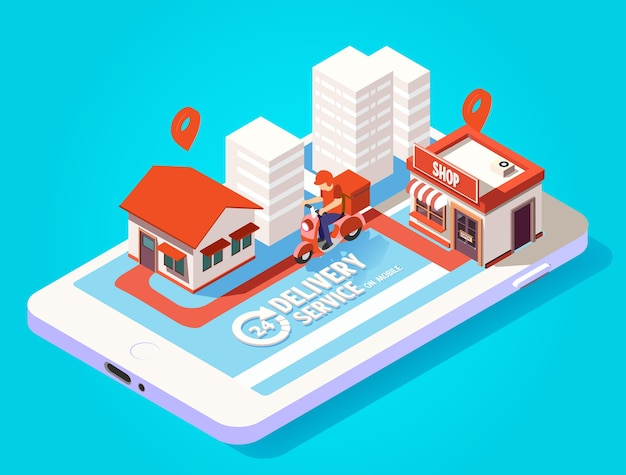 Isometric fast delivery by scooter on mobile. e-commerce concept