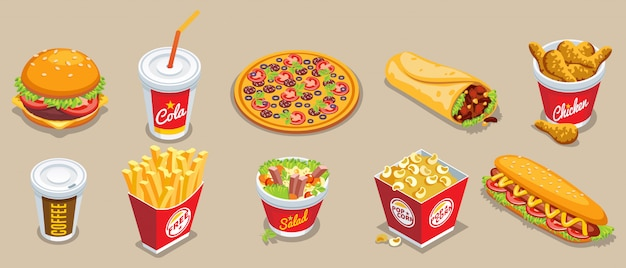 Isometric fast food collection with different products and drinks