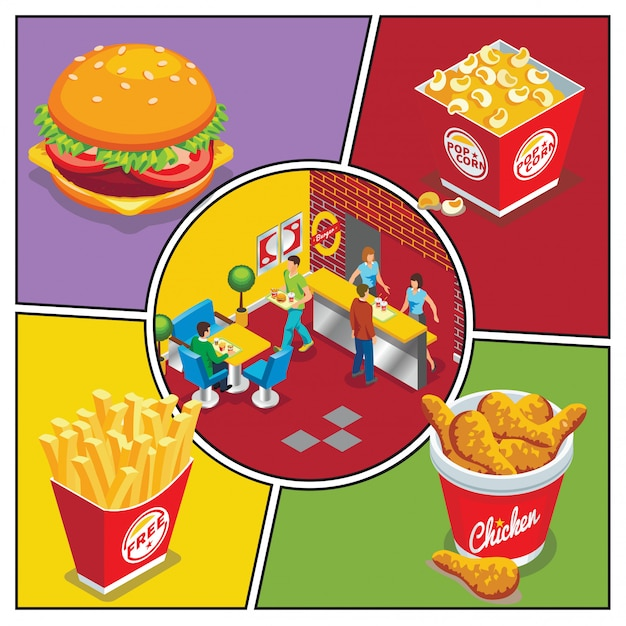Isometric fast food colorful composition with burger popcorn bucket chicken legs french fries people eating in fastfood restaurant