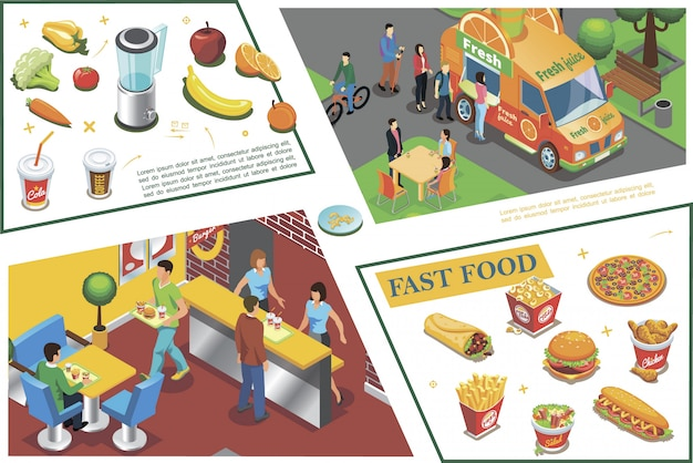 Isometric fast food colorful composition with juice truck fastfood cafe pizza french fries chicken legs sandwich burger vegetables fruits