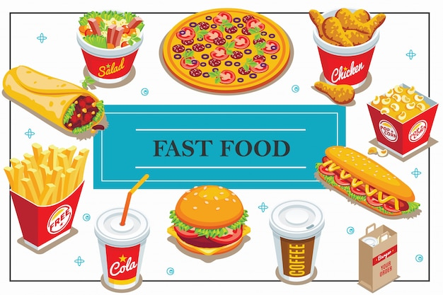Isometric fast food composition with coffee and cola cups doner pizza salad popcorn bucket hot dog burger french fries chicken legs