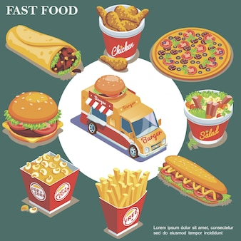 Isometric fast food composition with street food truck doner chicken legs pizza salad hot dog french fries popcorn bucket burger isolated