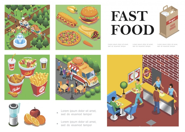 Isometric fast food composition with street food trucks fastfood restaurant fruits vegetables burger pizza doner hot dog cola coffee salad french fries