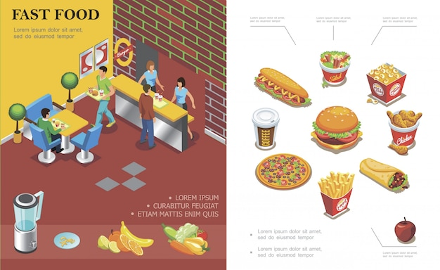 Isometric fast food restaurant composition with people eating in cafe coffee cup cola burger pizza french fries popcorn salad doner hot dog