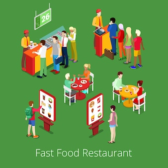 Isometric fast food restaurant interior with self-service terminal.