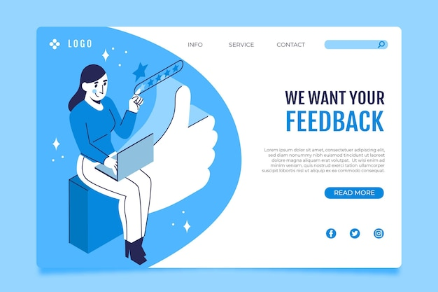 Isometric feedback landing page template