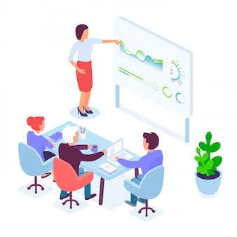 Isometric female speaker conducting presentation for coworkers during business meeting in office.