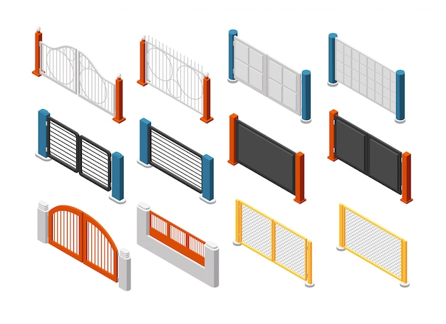 Isometric fences and gates. rural farm fencing. 3d vector set