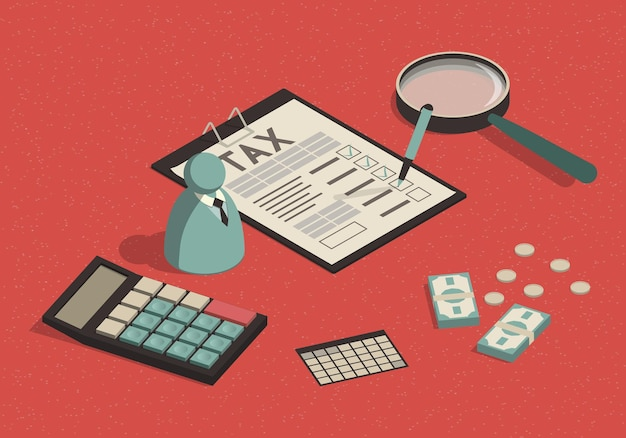 Isometric filling out and calculating a tax form