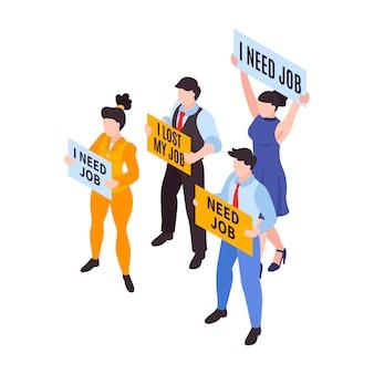 Illustrazione isometrica di crisi finanziaria con disoccupati in possesso di poster 3d
