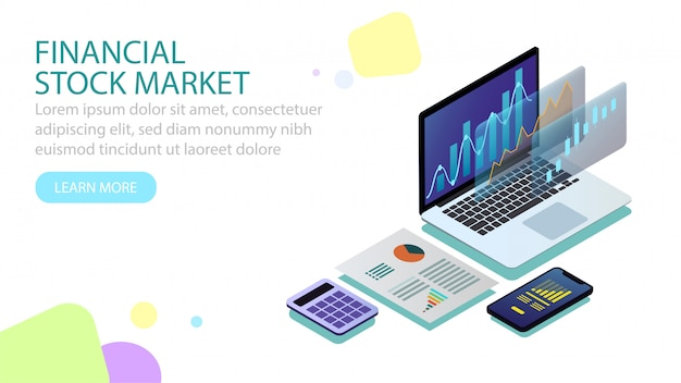 Isometric financial stock market concept