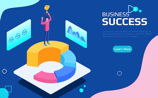 Isometric financial success concept.