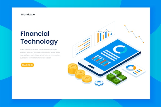 Isometric financial technology landing page template Premium Vector