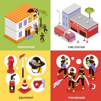 Концепция изометрические пожарный 2х2