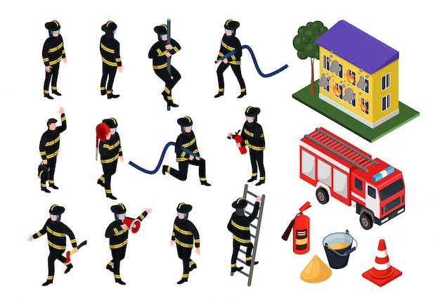 Isometric firefighter illustrations, cartoon 3d people in uniform with firefighting hose equipment set isolated on white