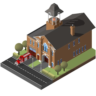 Isometric firehouse and firetruck.