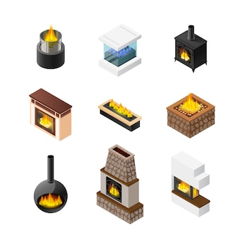 Isometric fireplace icon set