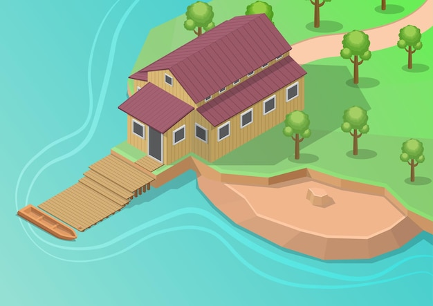 Isometric fishing house with boat on water