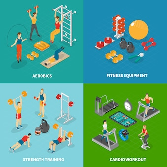 Isometric fitness club banner collection