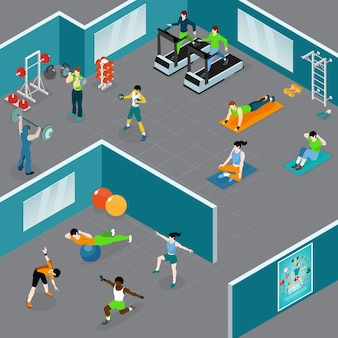 Isometric fitness club illustration